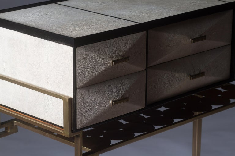 Cosima 7 Console / Storage Unit in Cream Shagreen and Brass by R&Y Augousti In New Condition For Sale In New York, NY