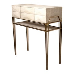 Cosima 8 Console / Storage Unit in Cream Shagreen and Brass by R&Y Augousti