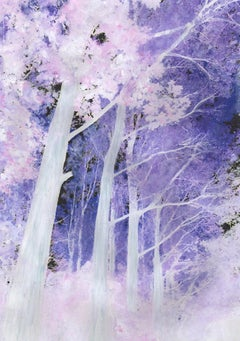 A Forest (series) painting on print on paper in pink and purple