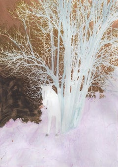 A Forest (series) with horse, painting on print on paper, pink and bronze