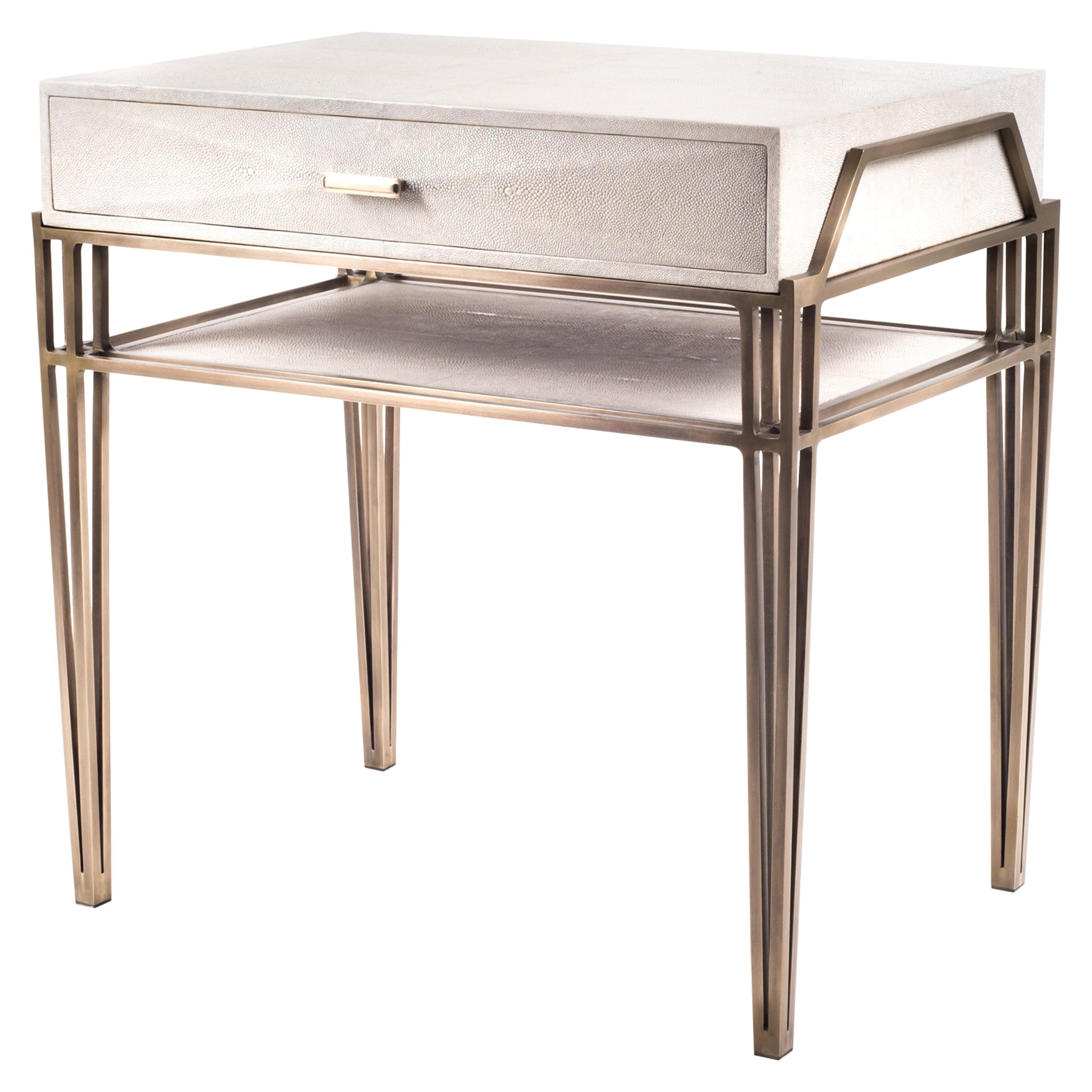 """""""Cosmia"""" Bedside Table in Cream Shagreen and Bronze-Patina Brass by R&Y Augousti"""