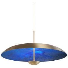'Cosmic Azure' Indigo Blue Patina Brass Pendant Ceiling Light, Chandelier