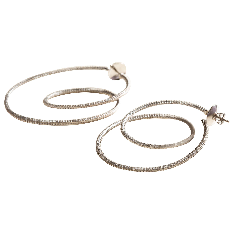 Cosmic Dance Double Hoops in 18 Karat White Gold and Diamonds