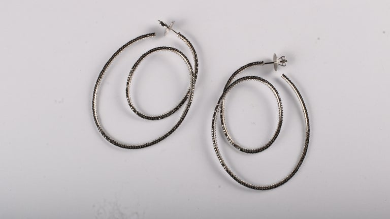 Women's Cosmic Dance Double Hoops with Black and White Diamonds For Sale