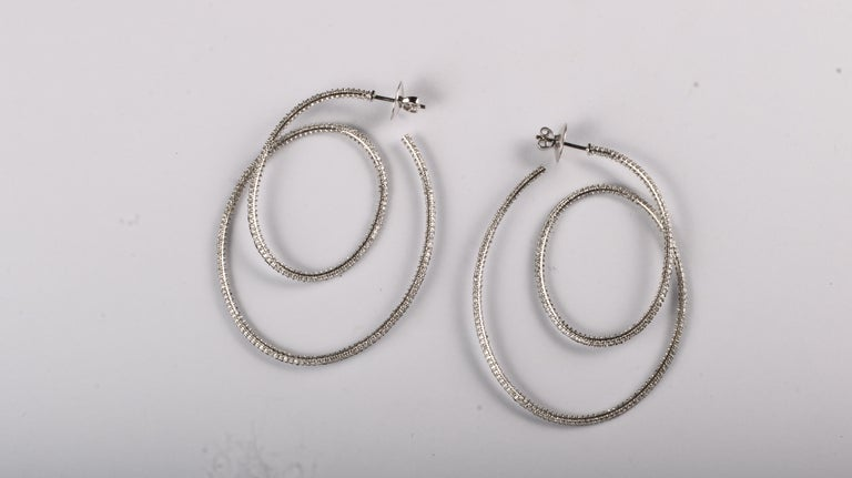 Cosmic Dance Double Hoops with Black and White Diamonds For Sale 1