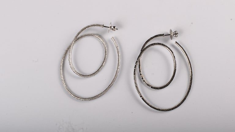 Cosmic Dance Double Hoops with Black and White Diamonds For Sale 2