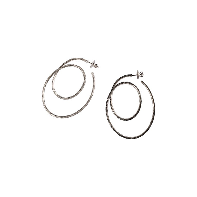 Cosmic Dance Double Hoops with Black and White Diamonds For Sale