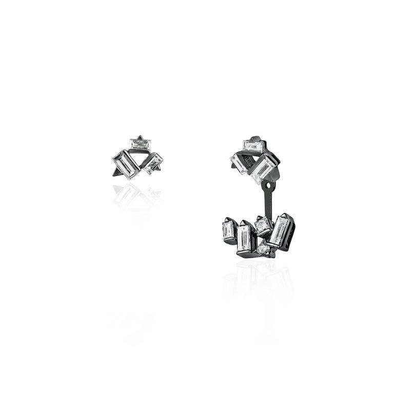 Baguette Cut Cosmic Diamond Cluster Earrings For Sale