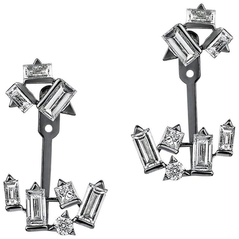 Cosmic Diamond Cluster Earrings For Sale