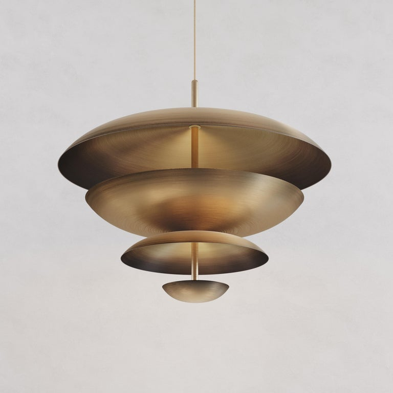 Organic Modern 'Cosmic Ore' Chandelier, Gradient Patinated Brass Ceiling Light, Pendant For Sale