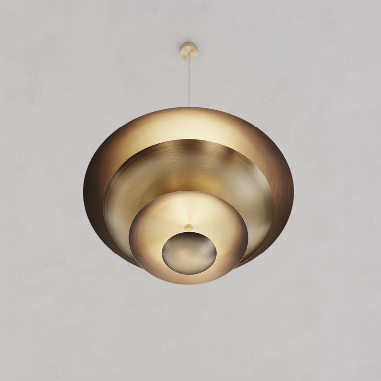 English 'Cosmic Ore' Chandelier, Gradient Patinated Brass Ceiling Light, Pendant For Sale