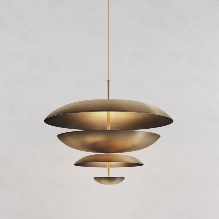 'Cosmic Ore' Chandelier, Gradient Patinated Brass Ceiling Light, Pendant In New Condition For Sale In London, GB