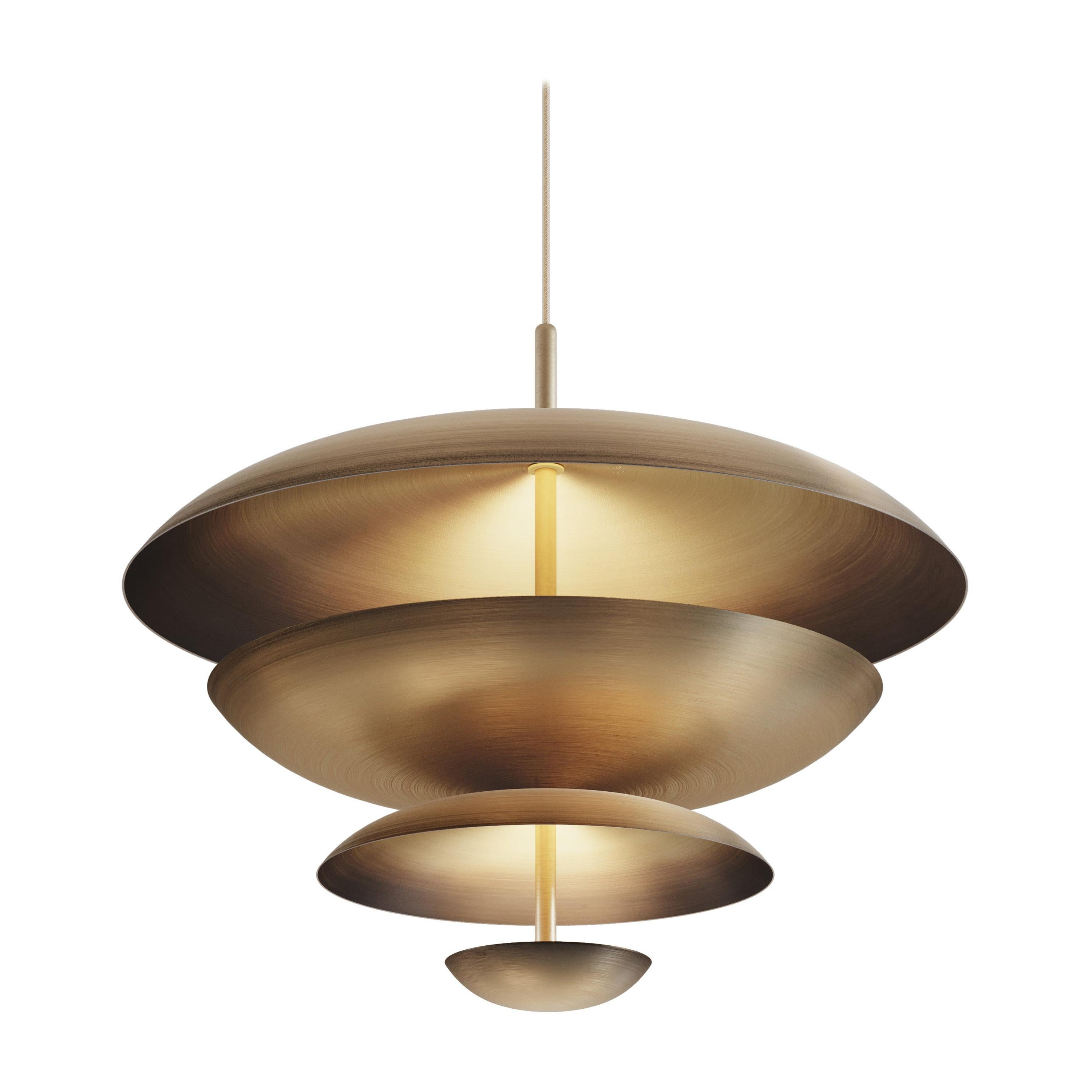 'Cosmic Ore' Chandelier, Gradient Patinated Brass Ceiling Light, Pendant