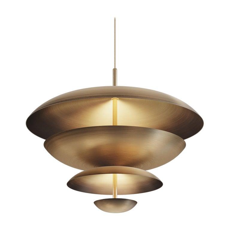 Cosmic Ore chandelier in gradient patinated brass