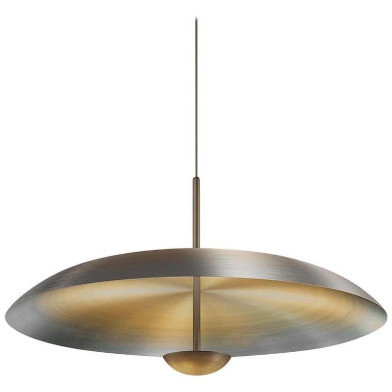 'Cosmic Ore' Pendant, Gradient Patina Bronzed Brass Ceiling Lamp For Sale