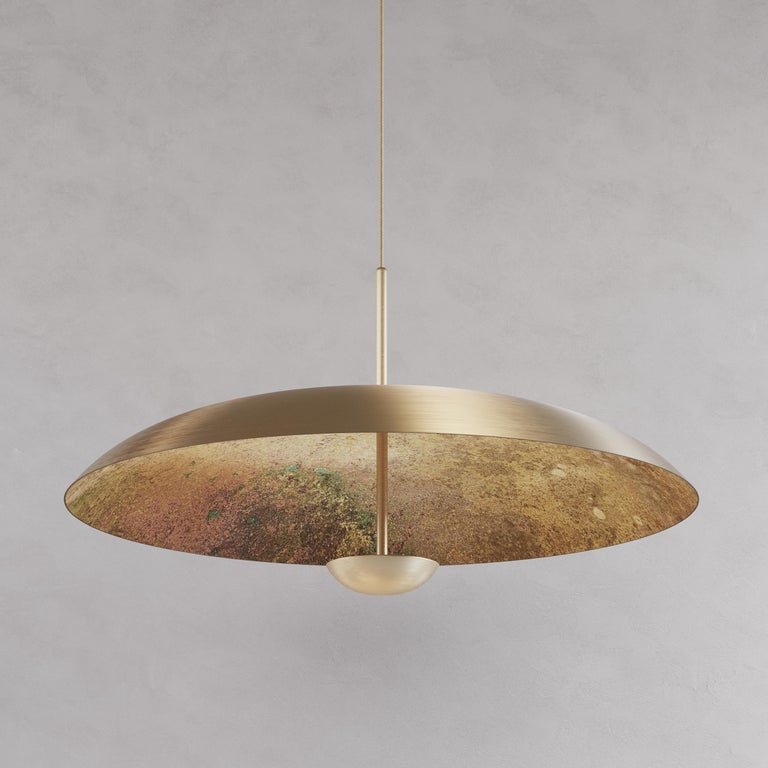 British 'Cosmic Oxidium' Mixed Color Patina Brass Pendant Ceiling Lamp, Chandelier For Sale