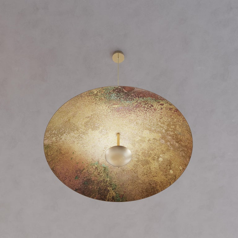 Patinated 'Cosmic Oxidium' Mixed Color Patina Brass Pendant Ceiling Lamp, Chandelier For Sale
