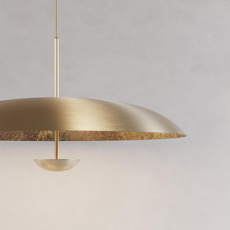'Cosmic Oxidium' Mixed Color Patina Brass Pendant Ceiling Lamp, Chandelier In New Condition For Sale In London, GB