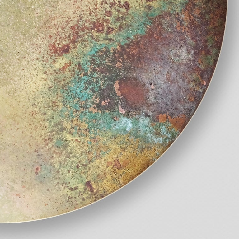 Contemporary 'Cosmic Oxidium' Mixed Color Patina Brass Pendant Ceiling Lamp, Chandelier For Sale