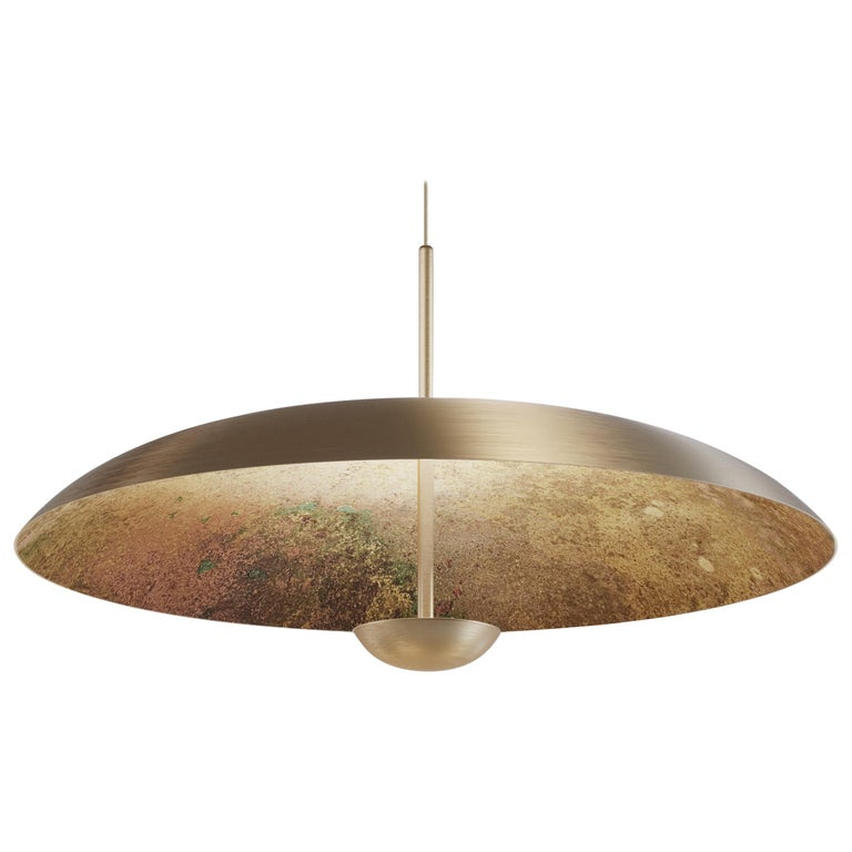 'Cosmic Oxidium' Mixed Color Patina Brass Pendant Ceiling Lamp, Chandelier For Sale