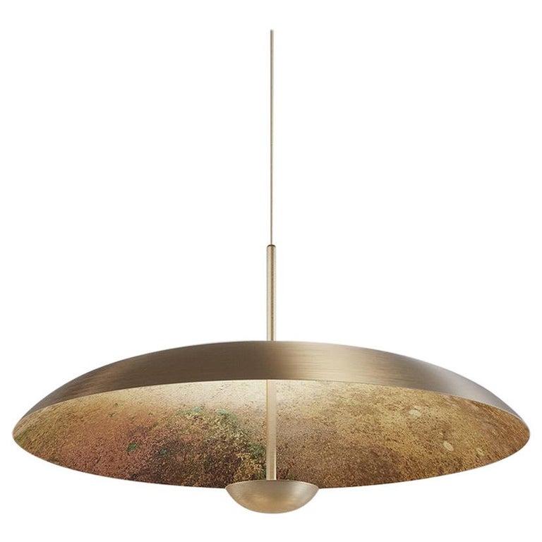 Cosmic Oxidium pendant lamp in mixed-color patinated brass
