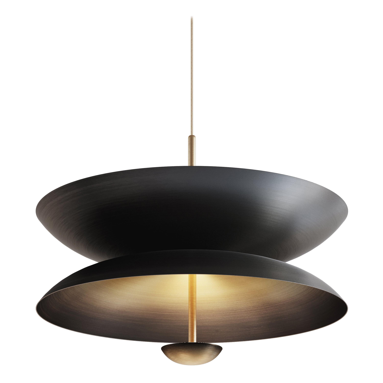 'Cosmic Regolith' Black Patina & Gradient Bronze Brass Pendant Lamp, Chandelier