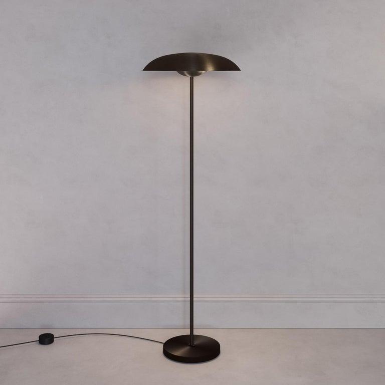 Organic Modern 'Cosmic Solstice Noir X' Floor Lamp, Handmade Dark Bronze Patinated Floor Light For Sale