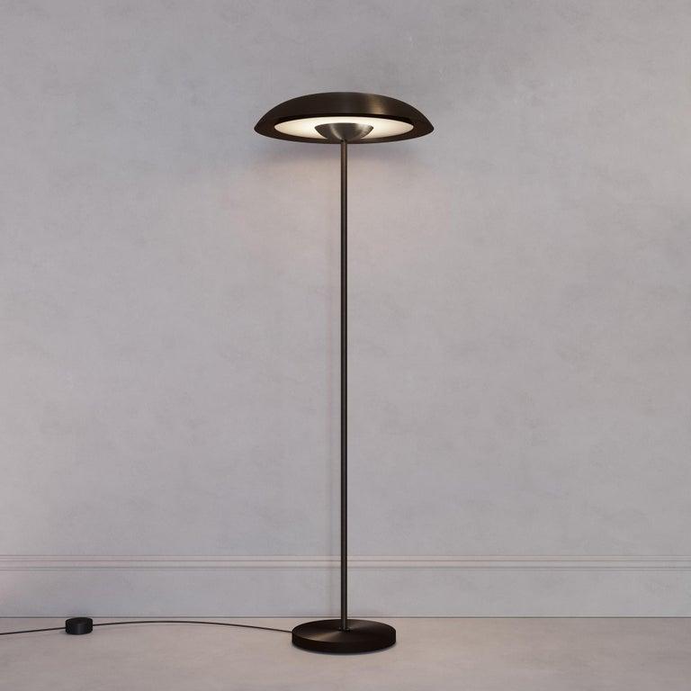 'Cosmic Solstice Noir X' Floor Lamp, Handmade Dark Bronze Patinated Floor Light In New Condition For Sale In London, GB