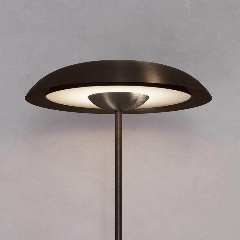 Brass 'Cosmic Solstice Noir X' Floor Lamp, Handmade Dark Bronze Patinated Floor Light For Sale