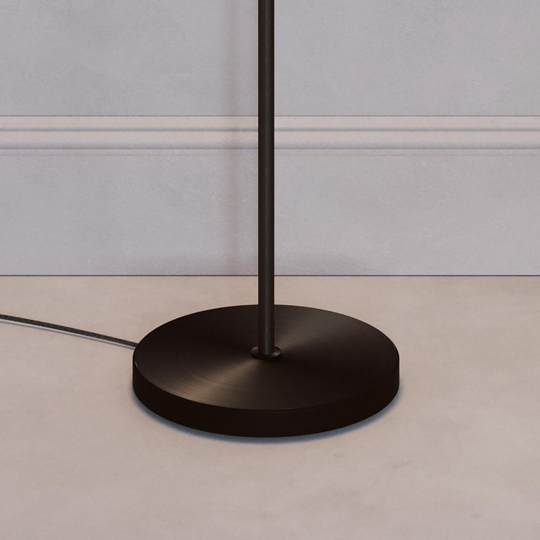 'Cosmic Solstice Noir X' Floor Lamp, Handmade Dark Bronze Patinated Floor Light For Sale 1