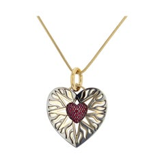 Cosmo Charm 18 Karat Yellow Gold and Ruby Heart by Elie Top