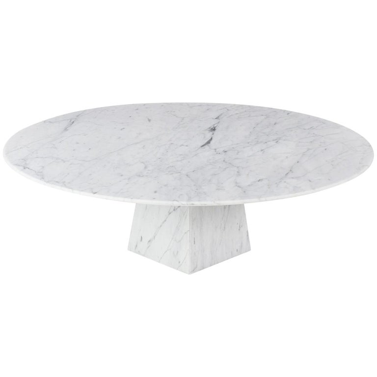 Cosmo, Contemporary Round Marble Coffee Table In Bianco