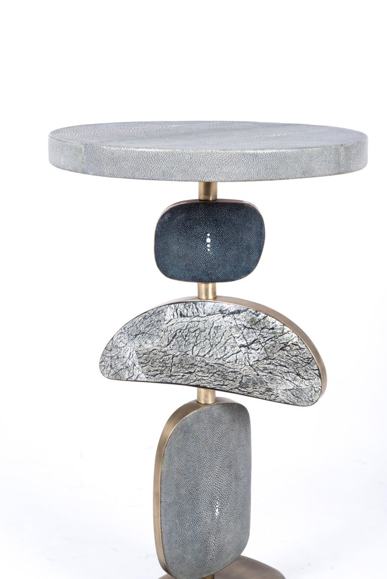 Art Deco Cosmo Side Table, Blue Shagreen, Stone and Bronze-Patina Brass by Kifu, Paris For Sale