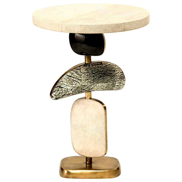 Cosmo Side Table in Cream Shagreen, Stone and Bronze-Patina Brass by Kifu, Paris For Sale