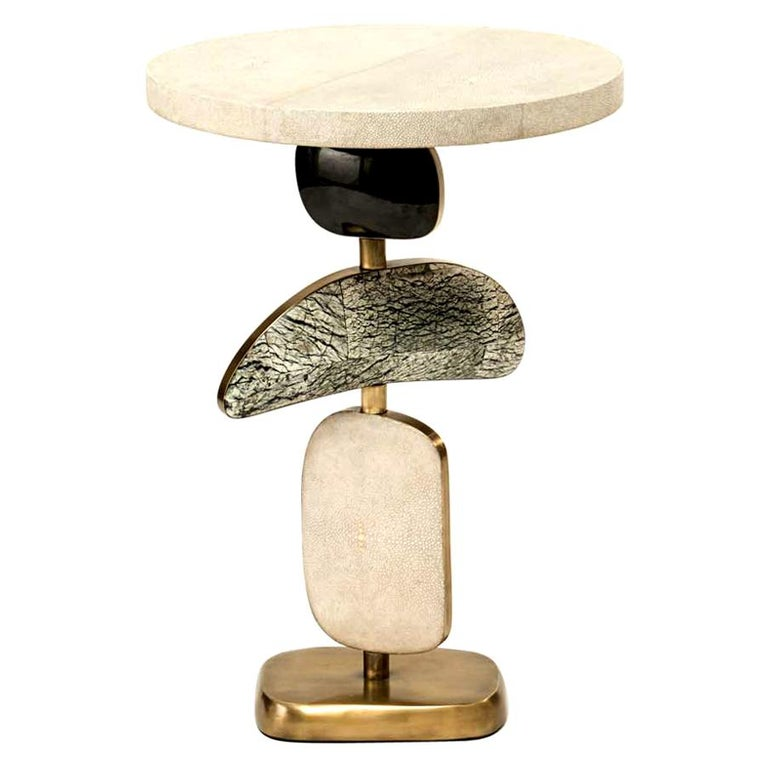 French Cosmo Side Table in Shagreen, Lemurian & Bronze-Patina Brass by Kifu, Paris For Sale