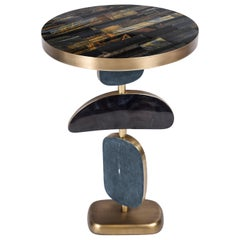 Cosmo Side Table in Shagreen, Tiger Eye Blue and Brass by Kifu, Paris