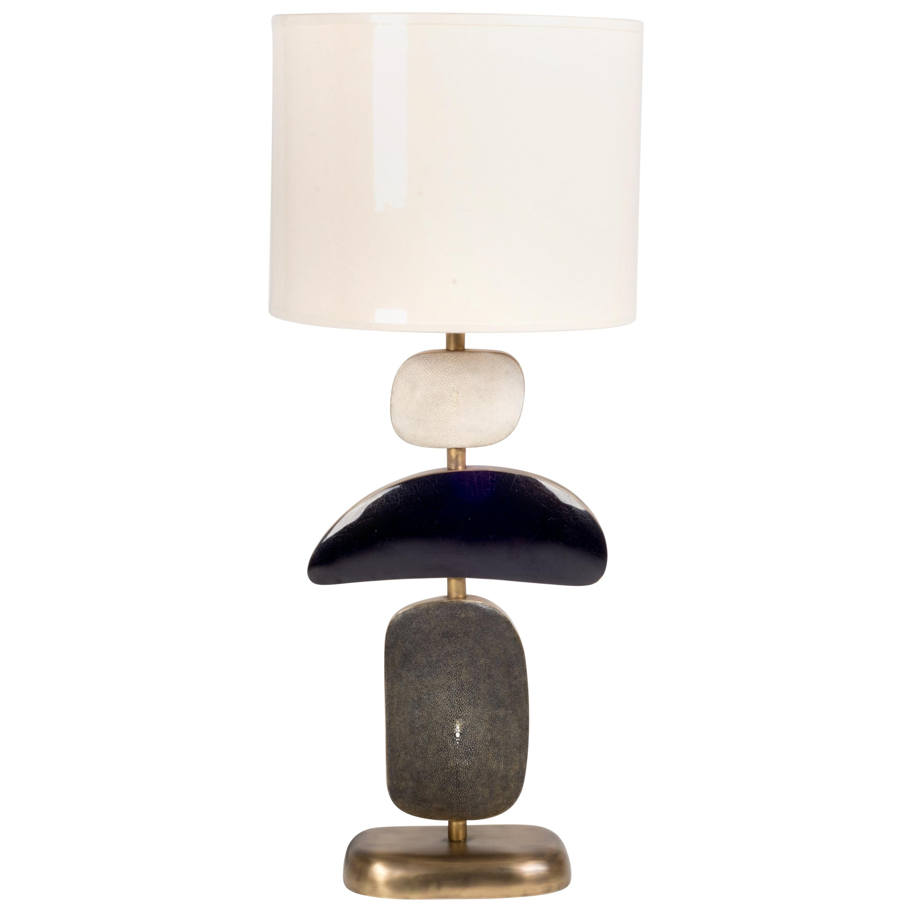 Cosmo Table Lamp in Shagreen, Shell and Bronze-Patina Brass by Kifu, Paris