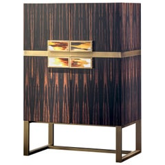 Cosmopolitan Bar Cabinet in Macassar Ebony and Corno Italiano, Model 6027EBO