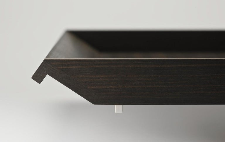 Italian Cosmopolitan Ebony Large Tray Mother of Pearl Inlay by Giordano Viganò For Sale
