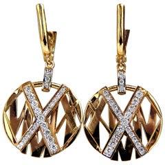 Cosmopolitan Mod X Diamond Dangle Earrings 14 Karat