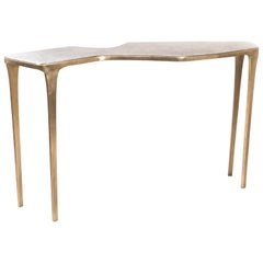 Cosmos Console Table in Cream Shagreen and Bronze-Patina Brass by R&Y Augousti