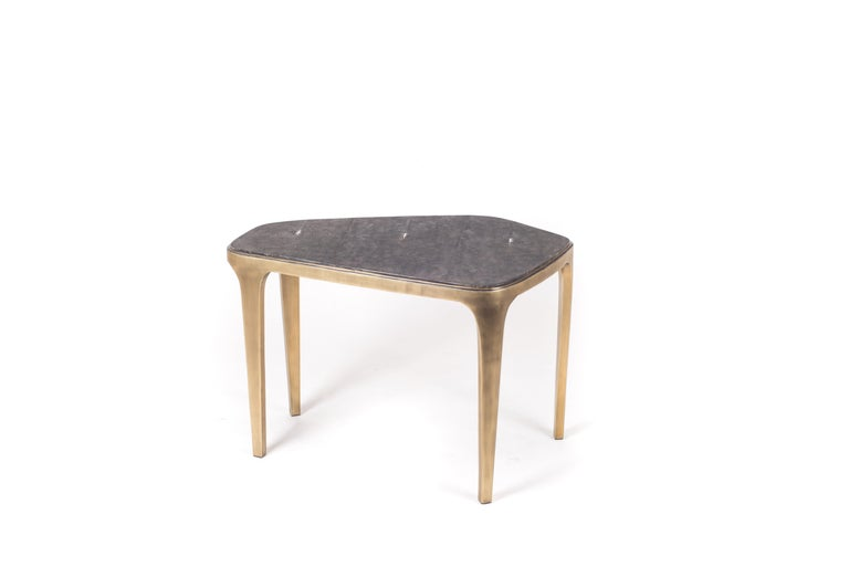 French Cosmos Nesting Coffee Table Cream Shagreen & Bronze-Patina Brass by R&Y Augousti For Sale
