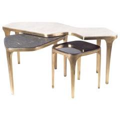 Cosmos Nesting Coffee Table Cream Shagreen & Bronze-Patina Brass by R&Y Augousti