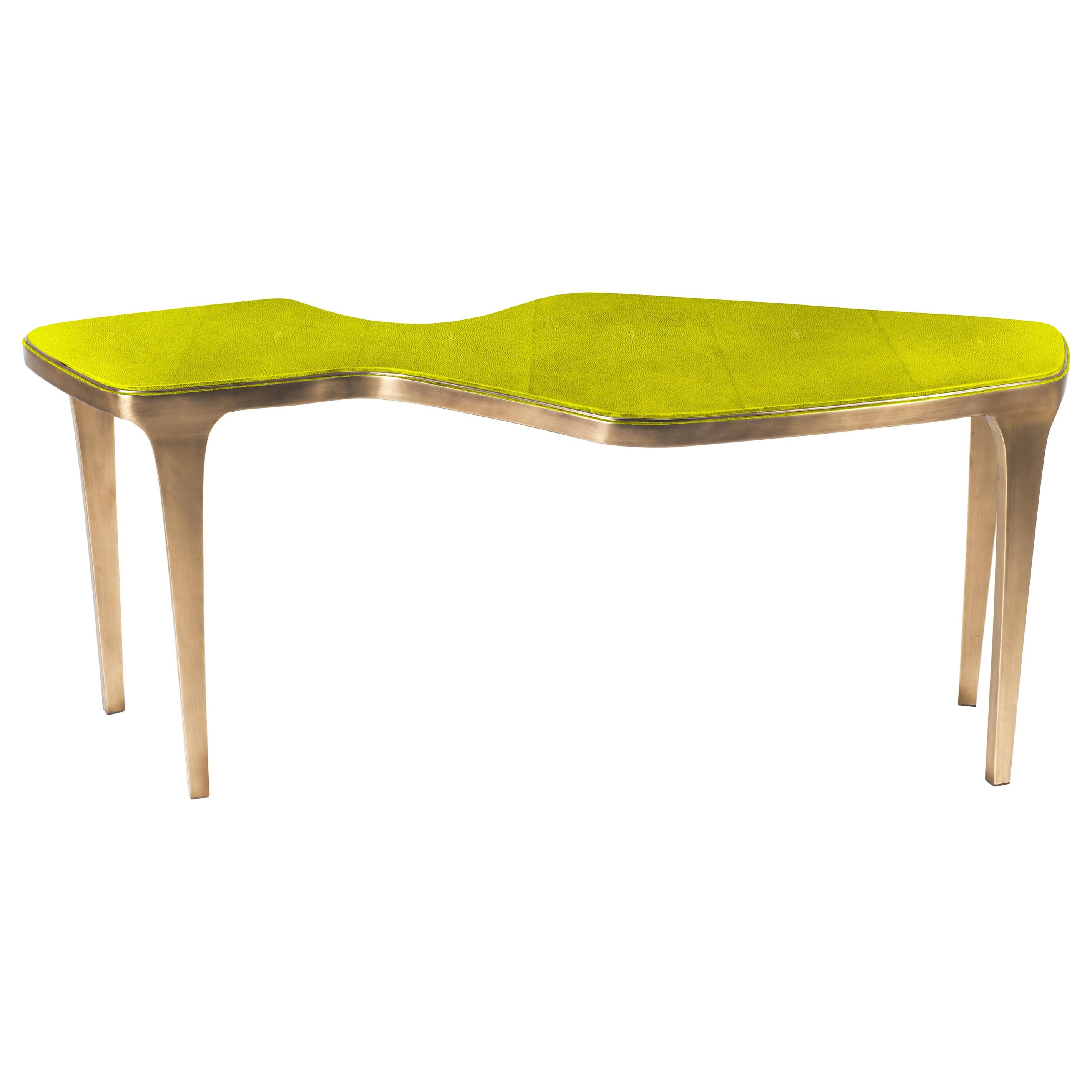 Cosmos Nesting Coffee Table in Chartreuse Shagreen & Brass by R&Y Augousti
