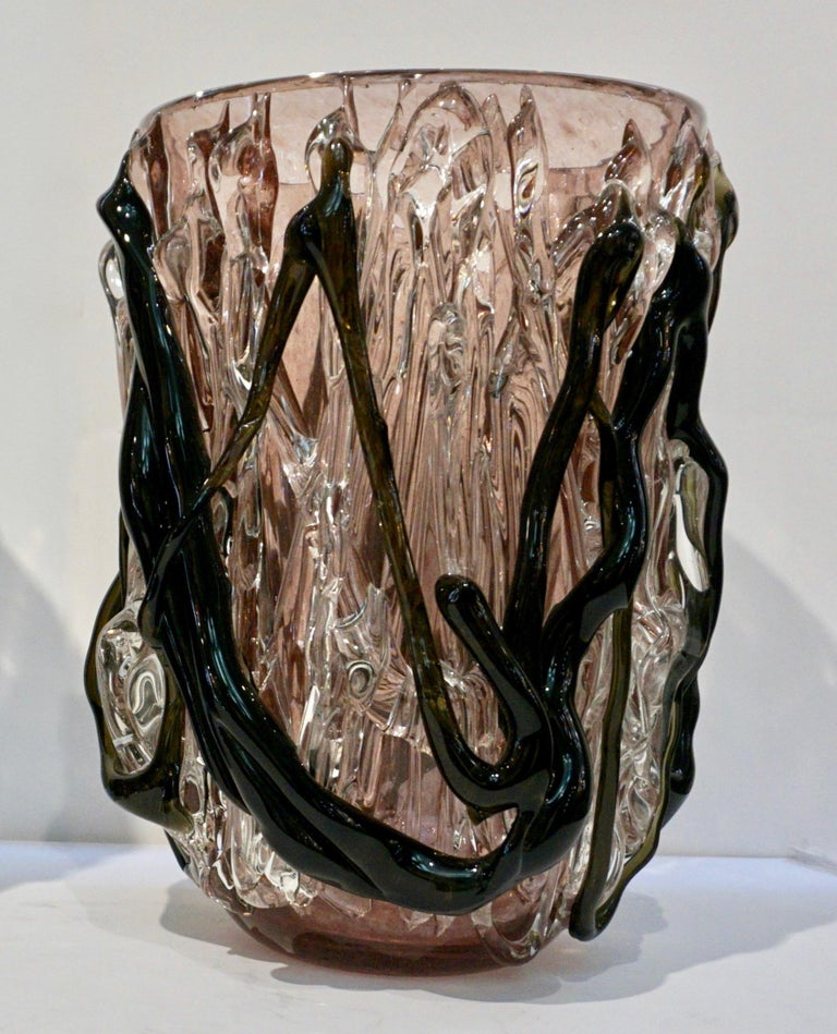 Costantini Italian Pair of Monumental Black Amethyst Clear Murano Glass Vases In Good Condition For Sale In New York, NY