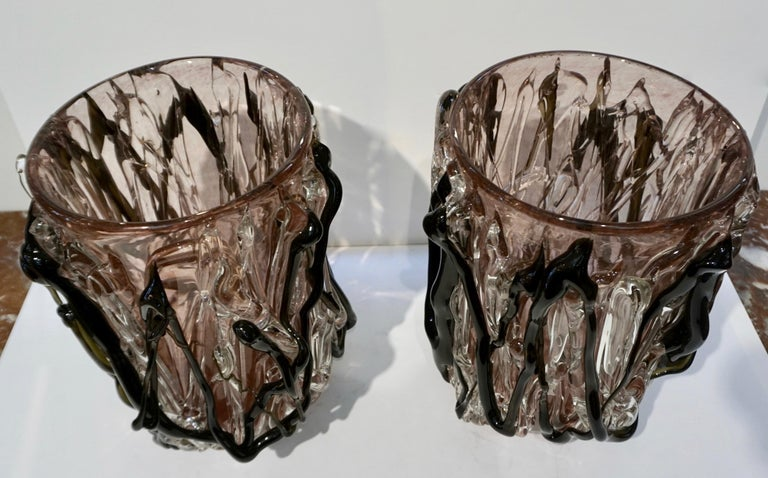 Blown Glass Costantini Italian Pair of Monumental Black Amethyst Clear Murano Glass Vases For Sale