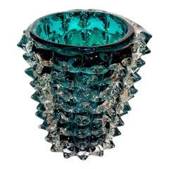 Costantini Italian Rostrato Blue Green Teal Murano Glass Modern Vase