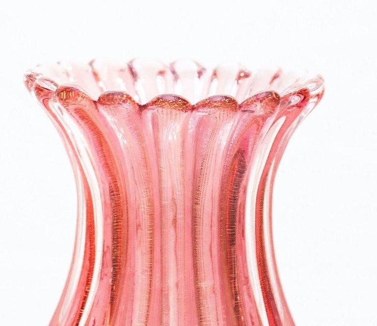 Italian Coste Pink Vase by Archimede Seguso, Murano Glass, 1950s