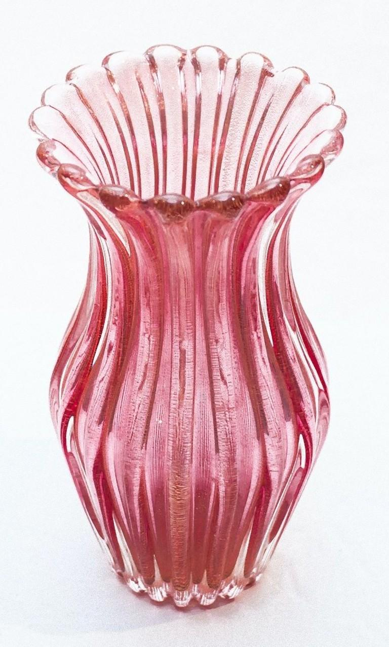 Coste Pink Vase by Archimede Seguso, Murano Glass, 1950s In Good Condition In Roma, IT