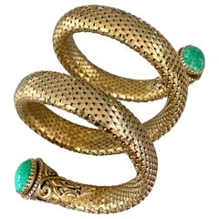 Costume Coil Gold Tone and Faux Turquoise Coil Bracelet
